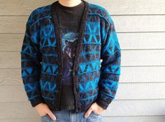 vintage 80s cardigan sweater in blue & black with by ReRunRoom,