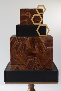 Amy Beck Cake Design - Chicago, IL | Modern, geometric wood inspired cake. www.amybeckcakedesign.com  Modern cake