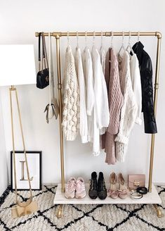 The Best Open Closet Inspiration To Keep Your Wardrobe Super-Organized. Creativ… The Best Open Closet Inspiration To Keep Your Wardrobe Super-Organized. Creative organization hacks for you closet and clothing with open closets in small. Open Wardrobe, Wardrobe Closet, Vacation Wardrobe, Perfect Wardrobe, Space Outfit, Wardrobe Solutions, Black And White Interior, Garment Racks, Closet Designs