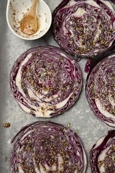 Za'atar Red Cabbage Steaks - plus links to other recipes inside to a whole mezze style meal Vegetable Dishes, Vegetable Recipes, Vegetarian Recipes, Cooking Recipes, Cabbage Vegetable, Roasted Red Cabbage, Red Cabbage Recipes, Cabbage Steaks, Eat This