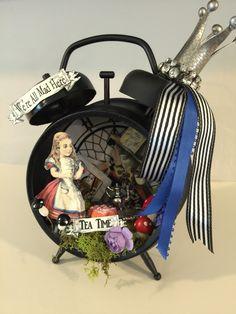 Tim Holtz altered clock. Alice in wonderland tea time. Mixed media