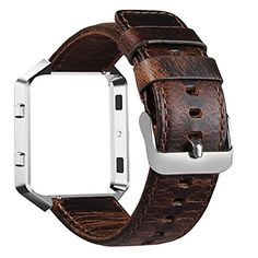 Fitbit Blaze Bands FanTEK Premium Genuine Leather Vintage Crazy Horse Replacement Wrist Band Strap Accessory with Metal Buckle For Fitbit Blaze Smart Fitness Watch Silver Frame Included Coffee *** For more information, visit image link.