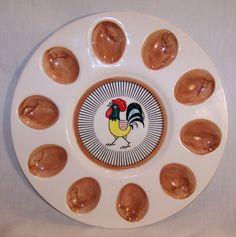 Vintage Lego Ceramic Deviled Egg Dish - Rooster / Chicken - Plate Platter - 1960 #vintagephilly