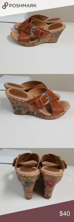Born concepts b.o.c. wedges. Leather. 6 Gorgeous tan leather wedges with flower design. Some signs of normal wear along soles (see photos) b.o.c. Shoes