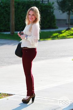 Loving the white blouse and oxblood jeans (from T.J.'s of course!) #fallcolor #tjmaxx