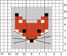 Fox - free pattern for cross stitch or hama beads
