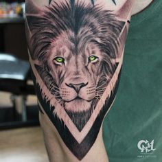 Freehand geometric with black and gray realistic lion tattoo.