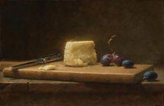 """Jacob Collins   """"Queso de cabra y uvas""""; óleo sobre tela, 2009"""