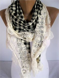 Scarf Elegant scarf Fashion scarf scarf with lace by MebaDesign, $19.90