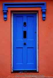 Lovely blue door with gorgeous contrast of rusty-coral facade, in Munster, Ireland Cool Doors, Unique Doors, Stairs Window, Doorway, Arched Windows, Windows And Doors, When One Door Closes, Door Detail, Door Numbers