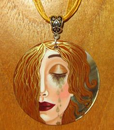 Genuine Russian hand painted SHELL pendant Gustav KLIMT Goddess Freya's tears