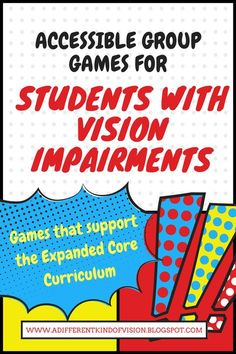 I've posted another list of accessible group games/teambuilding activities and ice breakers that are easily played for students with vision impairments. These games all support the Expanded Core and require little equipment. List Of Activities, Team Building Activities, Bible Activities, Teamwork Activities, 2nd Commandment, Visually Impaired Activities, Core Curriculum, Group Games, Ice Breakers