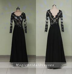 Charming Black Lace Evening Dresses Long Sleeves V-back Design Women Formal Long Dresses Floor-length A-line Evening Gown Mother Dresses by MagicBridalDresses on Etsy