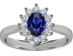 Blue Sapphire and Diamond Engagement Rings
