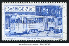 SWEDEN - CIRCA 1995: stamp printed by Sweden, shows Tram in Stockholm, circa 1995