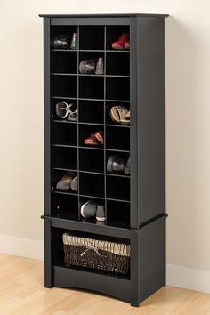 Tall Shoe Cubbie Cabinet - Black