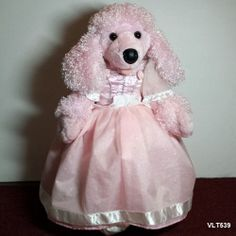 """Build A Bear Pink French Poodle in Fairy Tale Ball Gown White Satin Slippers 20"""""""