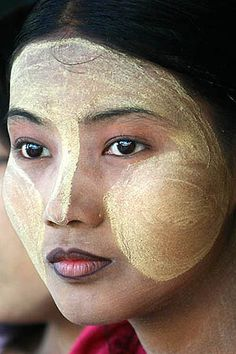 Myanmar (Burma)  Thanakha, a unique make-up distinctive to people in Myanmar. The bark of the thanakha tree is ground into powder, mixed with water, then smeared onto faces, mainly to prevent sunburn, but also to serve as an mild astringent and cosmetic.