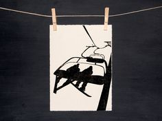 Ski Snowboard Chairlift  Hand printed  by WoodenSpoonEditions, $30.00
