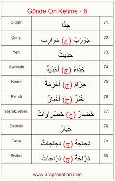 Günde 10 Kelime - 8    www.arapcanotlari.com