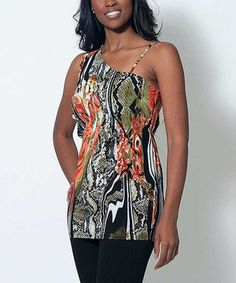 Another great find on #zulily! Dream Positive Orange & Black Dorothy Asymmetrical Tunic by Dream Positive #zulilyfinds