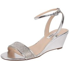 Nina Novia ($79) ❤ liked on Polyvore featuring shoes, sandals, silver, silver ankle strap sandals, silver shoes, nina sandals, mid heel wedge sandals and mid heel sandals