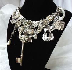 Big Bling necklace, Key to my heart, Victorian Noir, Custom made couture neck piece. OOAK silver setting, made to order, La Marelle Couture