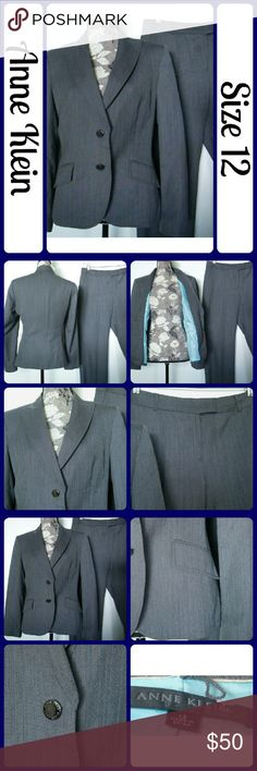 """2 piece Anne Klein Pant Suit Grey & Turquoise Excellent condition, Worn for about an hour.  Beautiful in person, fits nicely. Dark grey with turquoise pinstripe and turquoise satin lining. Both fully lined.  60% Polyester, 40% Wool ... ...No rips, snags, or stains. Measurements are take flat and unstretched, Jacket - Bust-21"""" across from underarm to underarm, Length- """" from mid-back to bottom hem., Sleeve 24"""" from top seam to bottom hem. Pants - Waist 34"""", Inseam 32""""...From a smoke-free home…"""