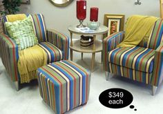 FUN FUNKY and FABULOUS!! Check out these amazing striped Lazy Boy accent chairs from their designer line. Also available is the coordinating ottoman. 2 chairs available at $350 each~ Stop in because our pieces dont last long!!      Yesterdays Treasures Consignment    1185 Second Street Suite H    Brentwood    925 - 516 - 8549