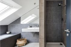 Granit - Ringford Road - Uniformed grey tiles create a lovely feature wall in the bathroom complimenting the large stone tiles around the bath. Victorian Kitchen, Victorian Terrace, Victorian Homes, Loft Bathroom, Bedroom Loft, Bathrooms, Master Bedroom, House Extension Design, House Design