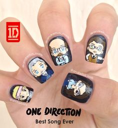 One Direction nail art. Best Song Ever nails. Zayn Malik, Harry Styles, Louis Tomlinson, Niall Horan, Liam Payne. NOTD