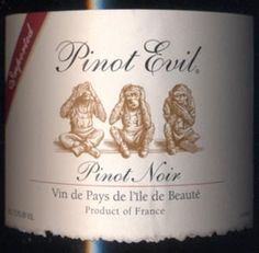 Pinot Evil Pinot Noir - pretty good for an inexpensive bottle of wine Wine Names, Wine List, Fine Wine, Pretty Good, Wines, Bottle, Drink, Recipe Ideas