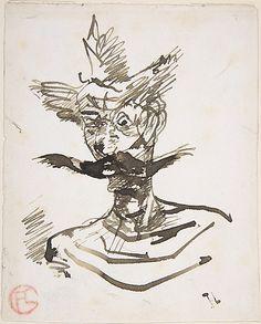 * The Clown: M. Joret   1885 Henri de Toulouse-Lautrec (1864–1901) Pen and black ink (faded to brown)