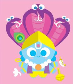 Learn about Sanjay Patel, the mastermind illustrator behind Ghee Happy and learn about indian deities. Om Art, Krishna Art, Lord Krishna, Indian Folk Art, Goddess Art, Hindu Deities, Hindu Art, Indian Gods, Kawaii