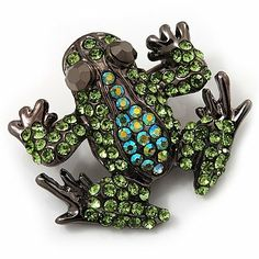 Small Green Diamante Frog Brooch In Gun Metal Finish - 3cm Length Avalaya. $22.50. Collection: animal. Occasion: anniversary, cocktail party, casual wear. Gemstone: diamante. Metal Finish: black tone. Theme: animal, frog