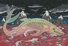 "The Bake-kujira - 化鯨 -  literally ""ghost whale"" - is a mythical Japanese yōkai (ghost, phantom, or strange apparition) from western Japan.  It is supposedly a large ghostly skeleton whale and is said to be accompanied by strange birds and fish."