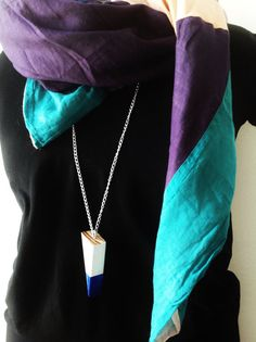 Blue/White Geometric Wooden Necklace