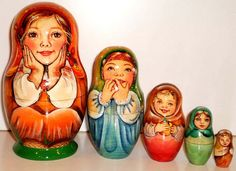 Nesting Doll Sweet Girls Russian wood curved by Viktoriyasshop