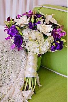Purple, White & Green Bouquet. Love these colors!