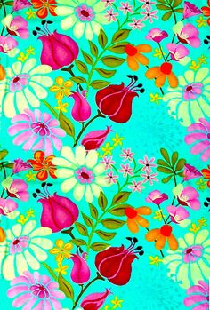 Floral pattern purple red on aqua