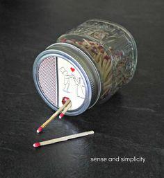 Mason Jar Matchbox: Last Minute Valentine's Day Gift Idea