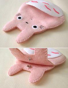 Totoro My Neighbour Big Cute Kawaii Pink iPhone Camera Felt Case button closure Fairytale. $25.00, via Etsy.