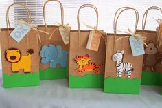 Zoo animal favor bags,   Birthday party favor bags, Jungle animal party favors bags, Baby Shower favors, on Etsy, $18.00