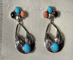 SARAH CHEE NAVAJO STERLING SILVER TURQUOISE, ONYX & CORAL POST PIERCED EARRINGS