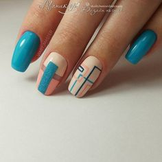 Nail art Christmas - the festive spirit on the nails. Over 70 creative ideas and tutorials - My Nails Hair And Nails, My Nails, Geometric Nail, Latest Nail Art, Nagel Gel, Easy Nail Art, Beautiful Nail Art, Blue Nails, Glitter Nails