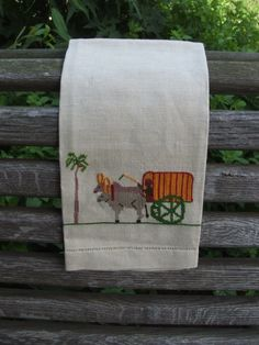 Vintage Ox Cart Embroidered Linen Tea Towel by lookonmytreasures on Etsy