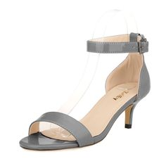 ZriEy Women Sexy Open Toe Ankle Straps Low Heel Sandals Grey