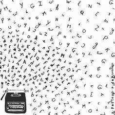 typewriter illustration Letter Patterns, Kids Patterns, Print Patterns, Writer Logo, The Beginning Of Everything, Alan Turing, Pattern Illustration, Letters And Numbers, Moleskine