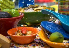New Fiesta® Fruit/Salsa Bowl displayed at the  Homer Laughlin China Company booth, 2016 International Home + Housewares Show, Chicago | Fiesta Dinnerware Facebook