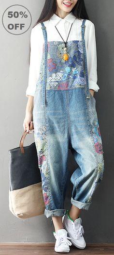 50% OFF! US 59.99 Casual Loose Print Strap Pocket Denim Jumpsuit For Women. 395412cae3d